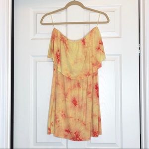 Color Thread Orange & Yellow Tie Dye Dress